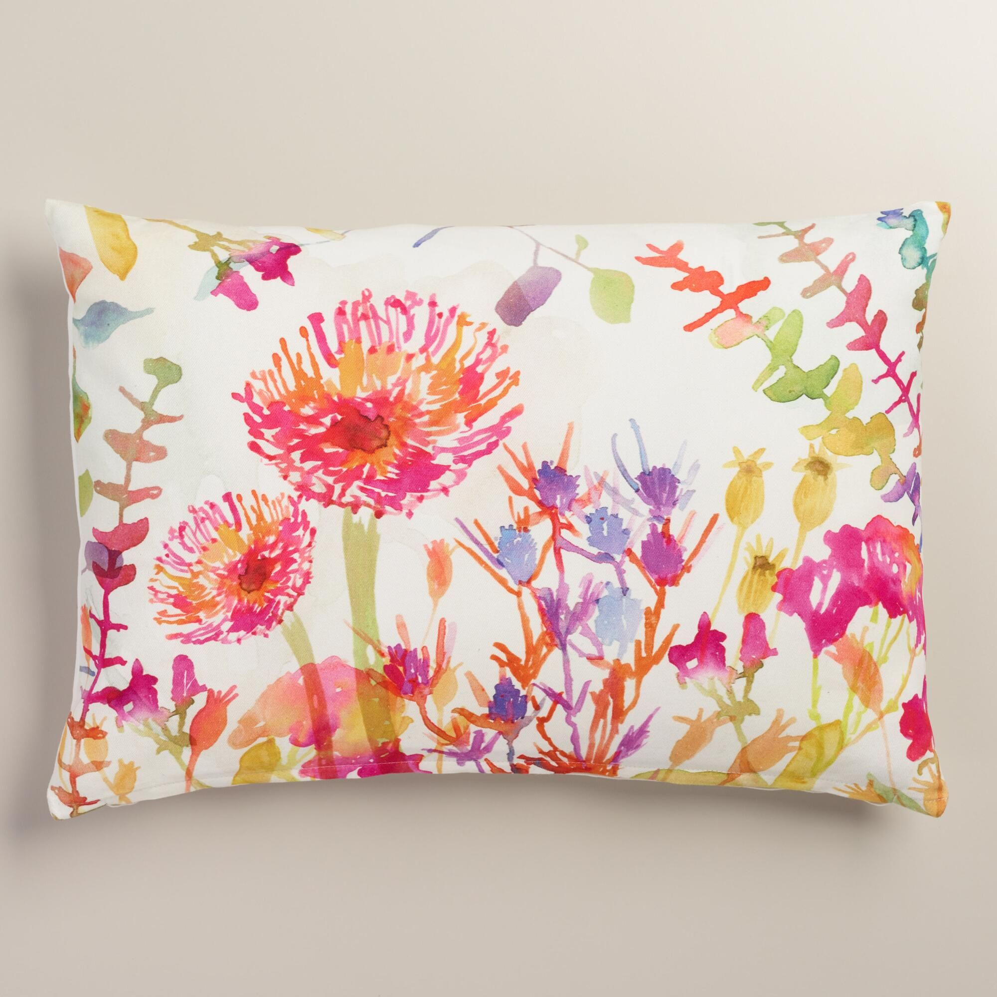 watercolor thistle cotton lumbar pillow bright colours throw