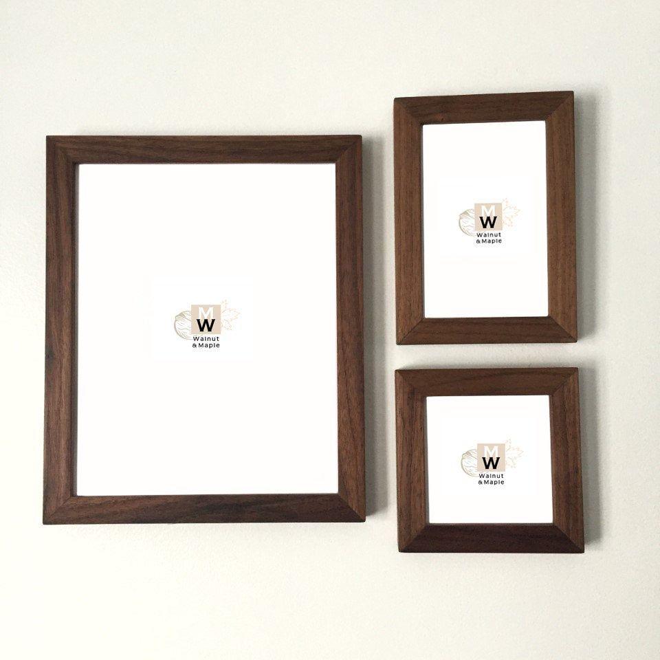 Walnut Frame Set 3 Piece Modern Picture Frame Set Handmade Wood Photo Frames Ready To Hang Wooden Frame Set Frames In 2019 Frame Photo On Wood Picture Frame Sets