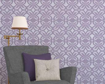 Grand mur Floral pochoir pour sticker personnalisé – Look Bohème papier peint Damas pour chambre ou chambre de bébé