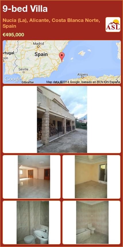 9-bed Villa in Nucia (La), Alicante, Costa Blanca Norte, Spain ►€495,000 #PropertyForSaleInSpain