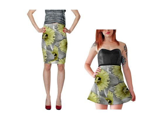 Floral Skirt Fitted Pencil Skirt Skater Skirt Flare Medium Length Teen Fashion Stretch Skirt Elastic Waist Mid Rise Date Night Yellow Gray