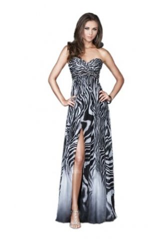 La Femme 15989 Zebra Print Chiffon Gown | Zebra print gowns ...