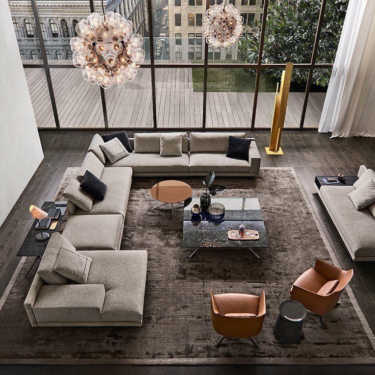 Mondrian sofa in removable fabric Olimpia 11 polvere, cushions ...