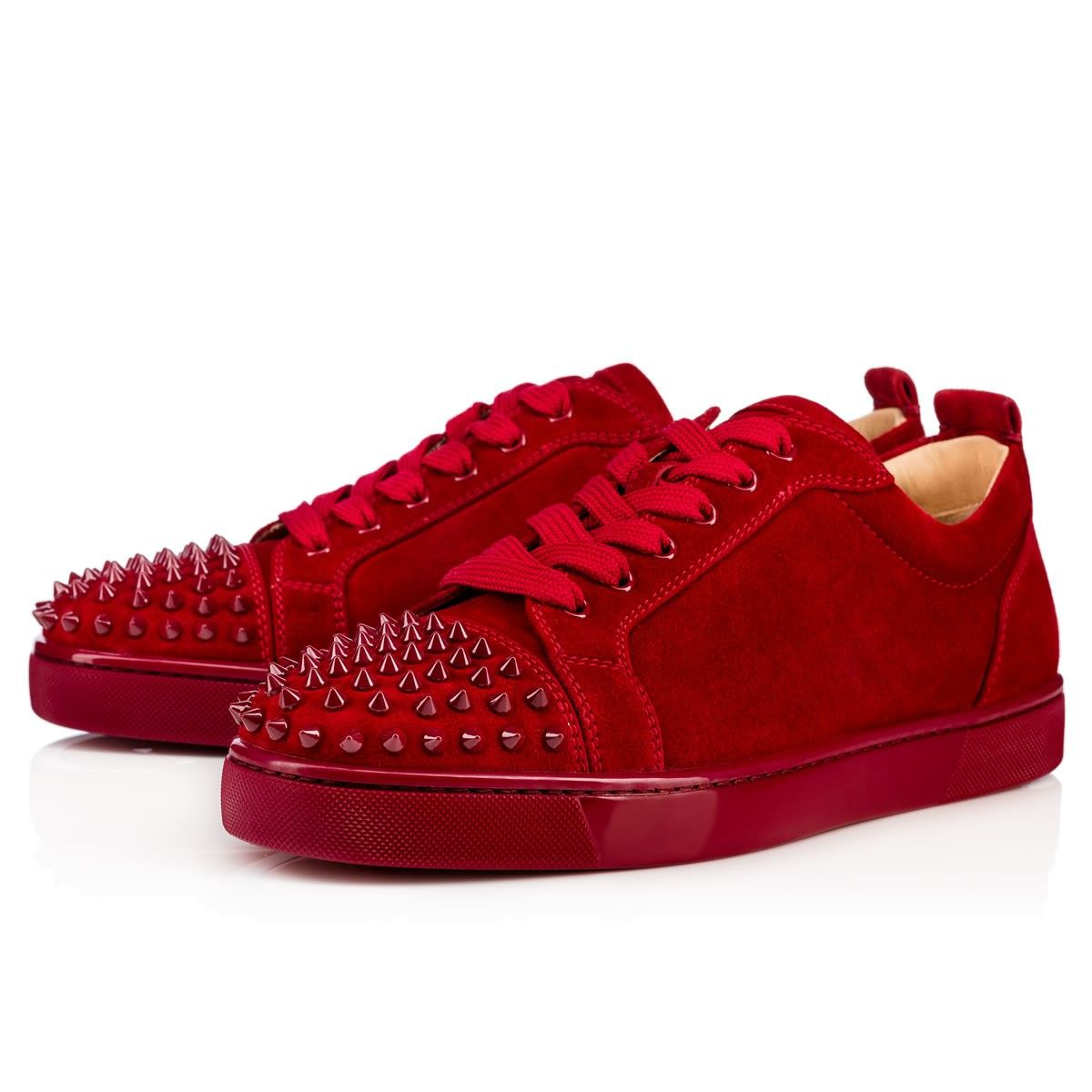 uk availability 5e07f 33412 CHRISTIAN LOUBOUTIN Louis Junior Spikes Veau Velours Carmin ...
