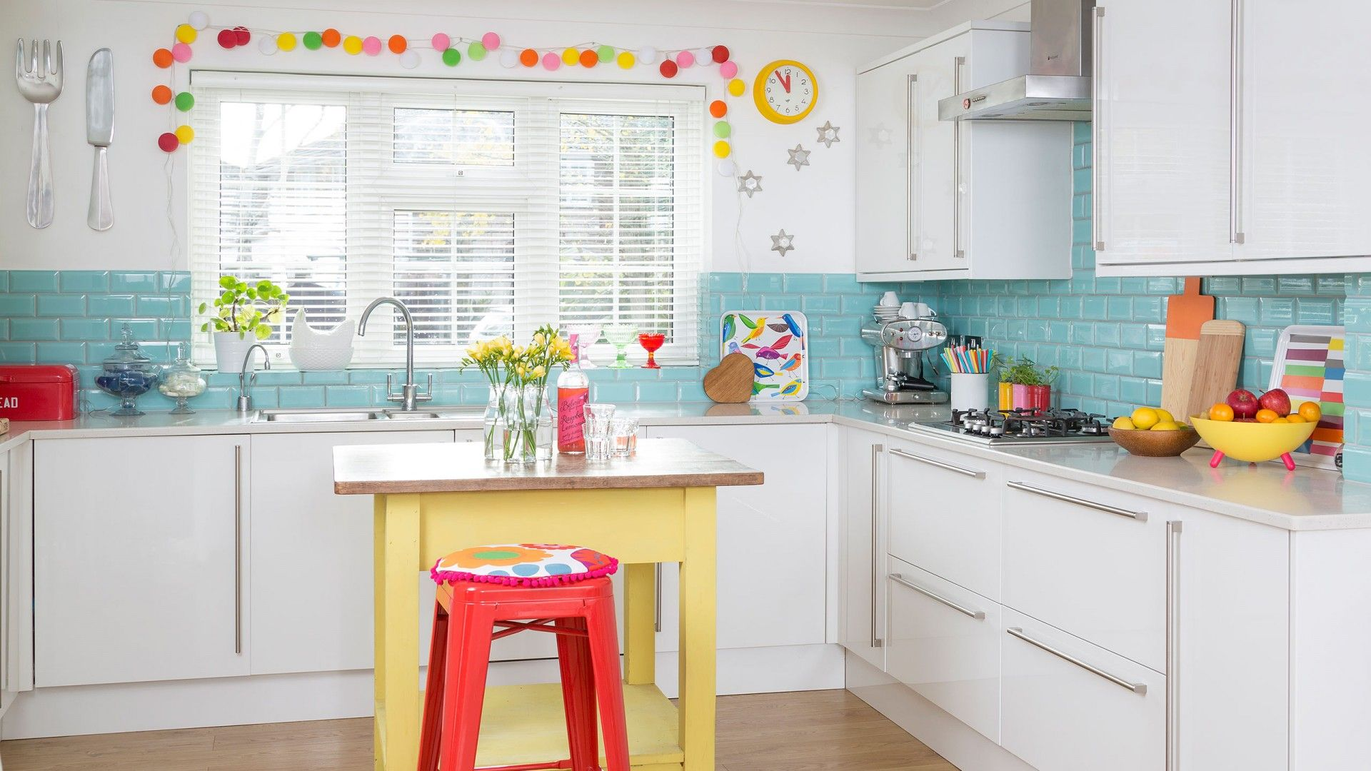 Create a bright and cheery kitchen by injecting pops of fluro-bright ...