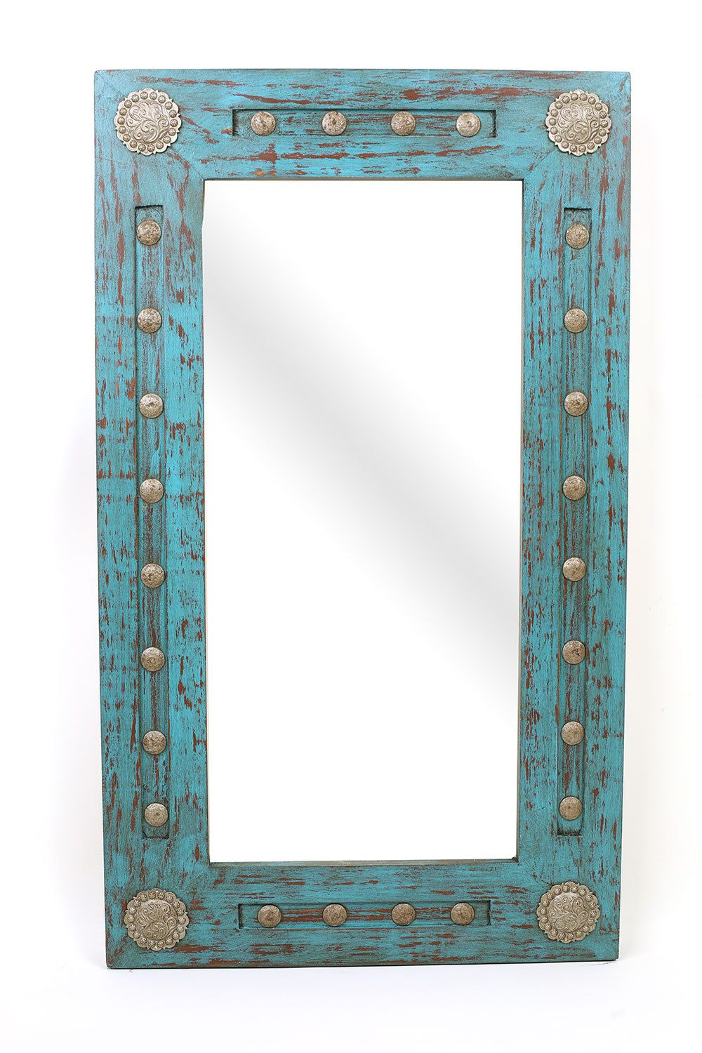 Silver Trails Rustic Mirror Wood Mexican 20x34 Rustic