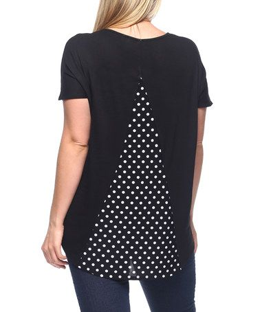 Another great find on #zulily! Black Polka Dot Split-Back Tee - Plus #zulilyfinds