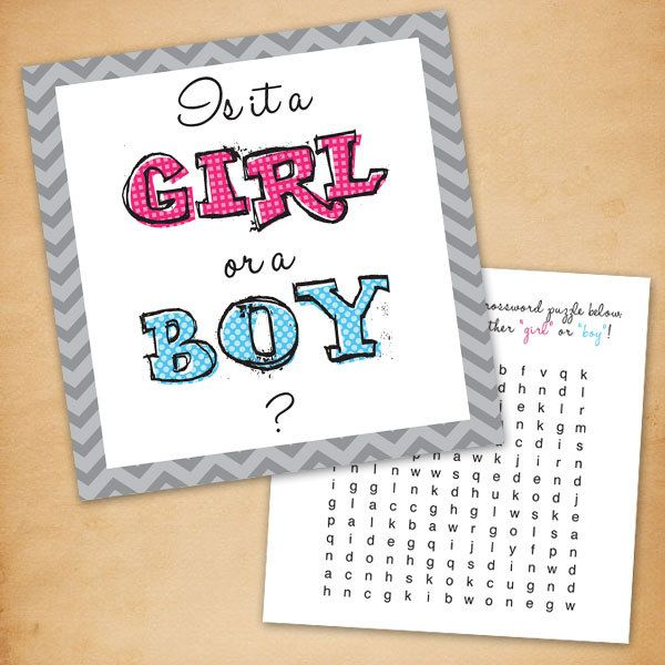 Printable Gender Reveal Word Search Card With Envelope 1200 – Baby Gender Announcement Cards