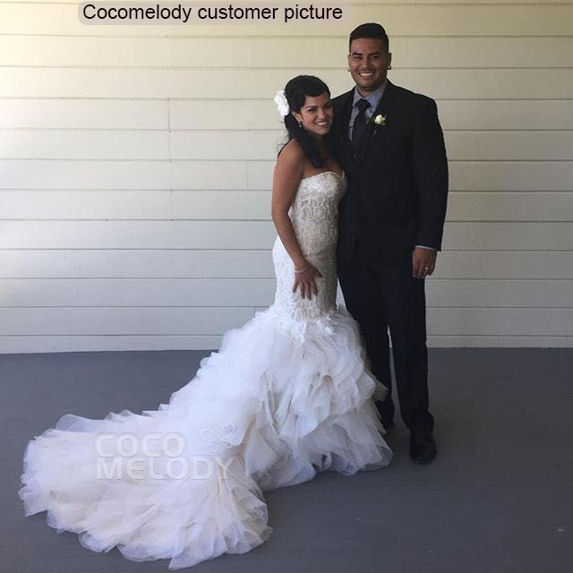 Mermaid Court Train Organza And Lace Wedding Dress