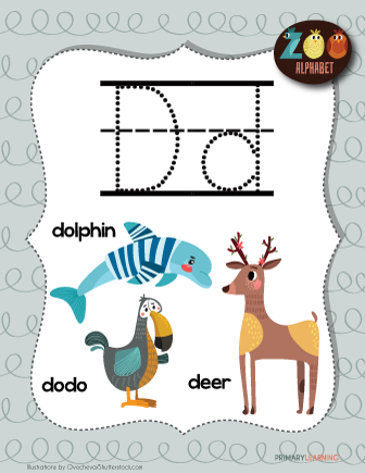 Letter D Animals Printable Poster Primary Learning Alphabet