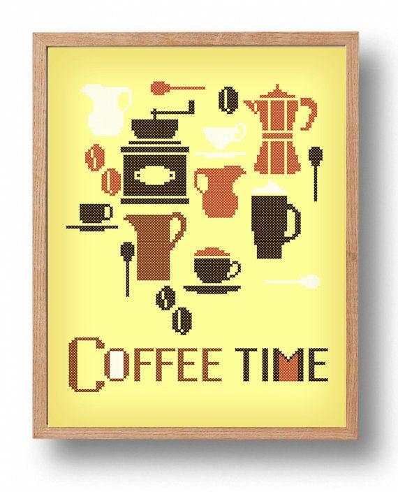 Coffee time  PDF Counted cross stitch pattern  by galabornpatterns