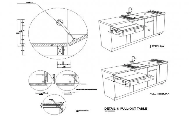 Kitchen Furniture Pull Out Table Isometric View And Trash Cabinet