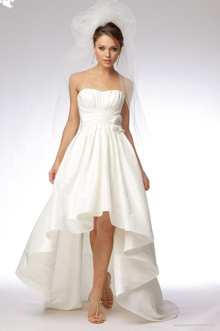 Fresh Vintage Taffeta Strapless Softly Curved Neckline High low Ball Gown Wedding Dress Plus Size