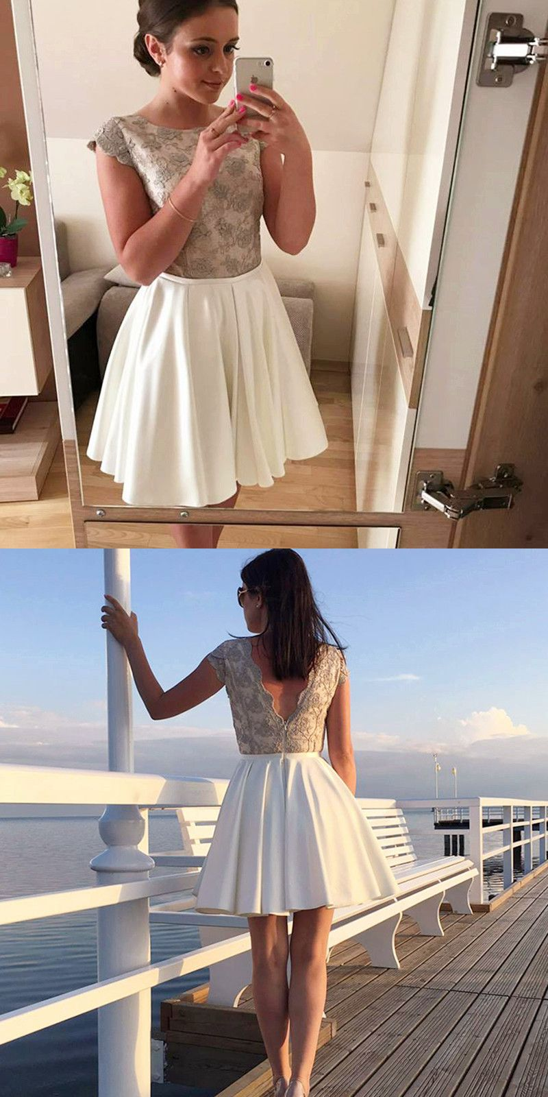 Aline round neck cap sleeves short homecoming dress with lace