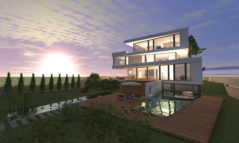 Modern architecture villa near berlin design by for Moderne architektur villa