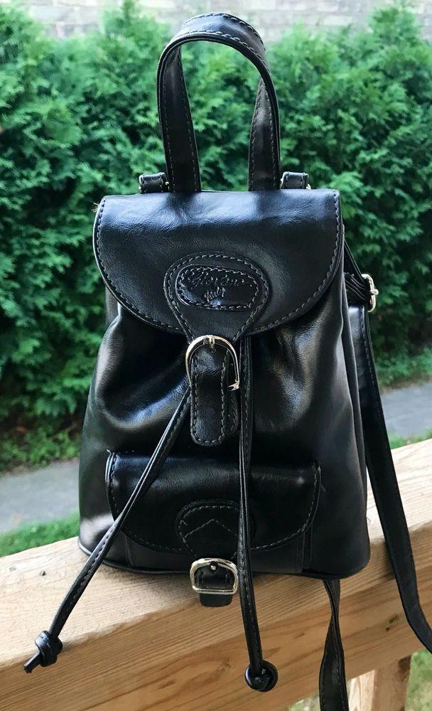 Vintage Backpack Style Handbag Black 1980s Fashion Built In Wallet Ebay