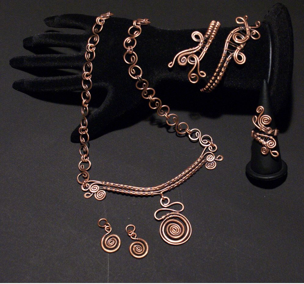 Copper jewelry set,copper earring,copper necklace,copper ring,copper bracelet,wire wrapped jewelry  handmade, jewelry set,unique womens gift by BeyhanAkman on Etsy https://www.etsy.com/listing/186861882/copper-jewelry-setcopper-earringcopper