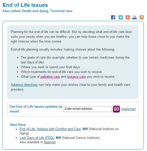 End Of Life Issues Medlineplus End Of Life Life Care Life Issues