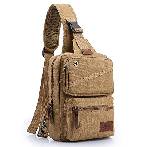 Men Women Canvas Messenger bag Travel Hiking Cross Body Shoulder Chest Bag Khaki