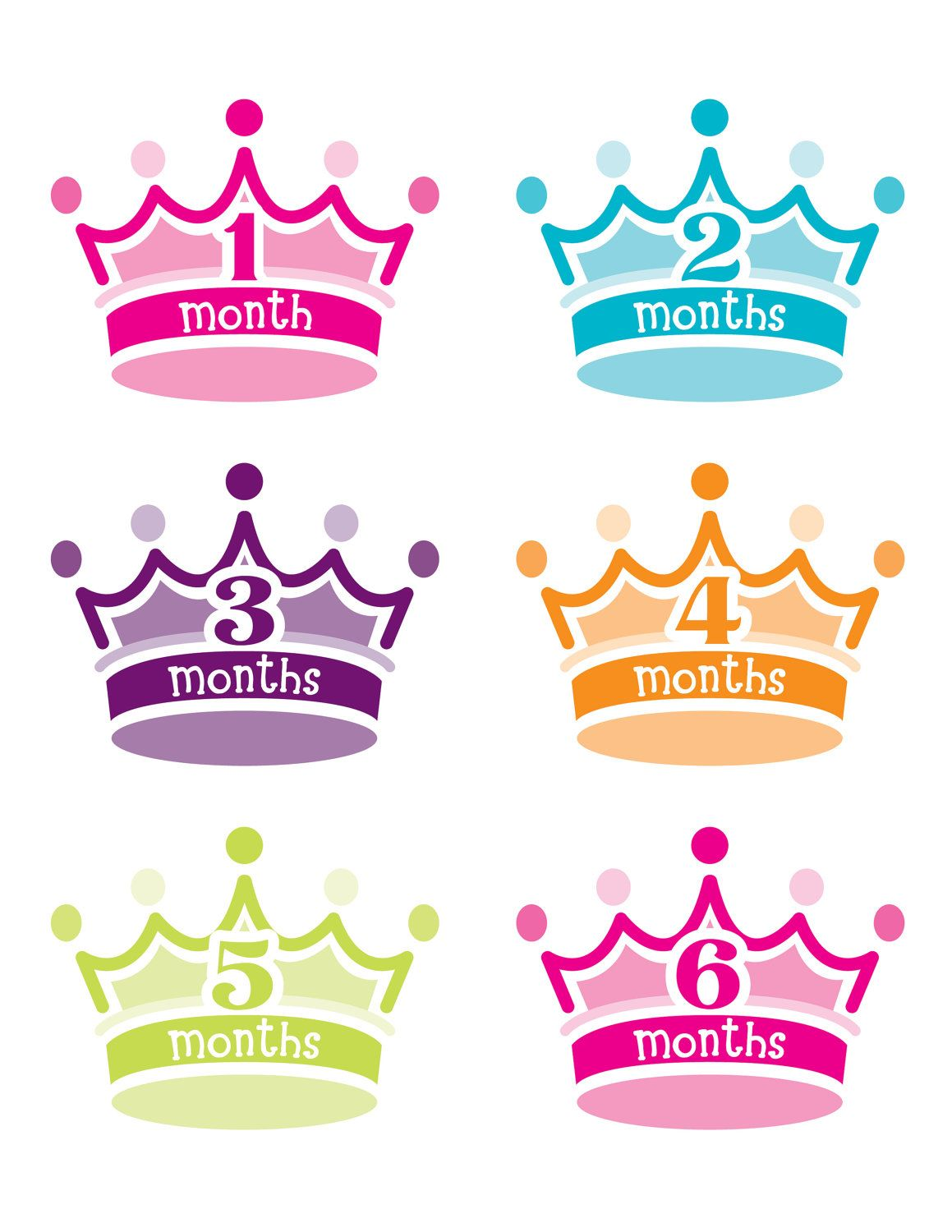 free shipping - PRINCESS CROWN Monthly onesie stickers DIECUT.  12.95 a762c2ef64e3