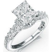 1.35 Carat Princess Cut Designer Four Prong Round Diamond Engagement Ring (D-F Color, VS2-SI1 Clarity)