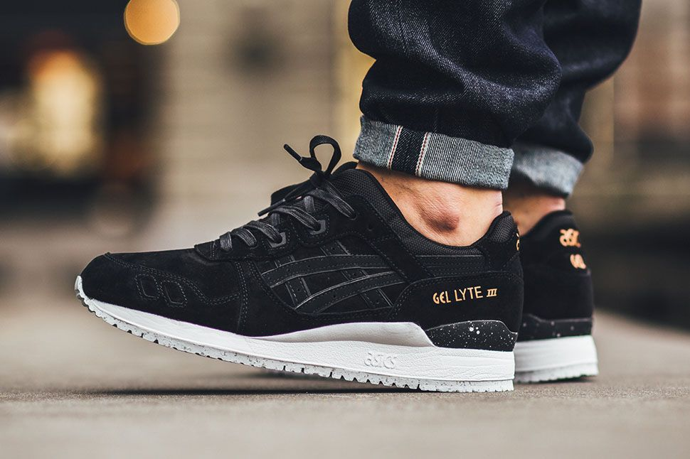 buty asics gel saga black white pack