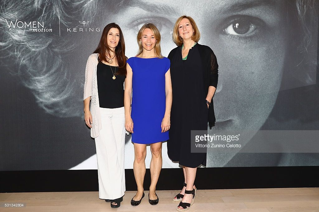 Producers Rena Ronson and Celine Rattray with Executive Director of Sundance Institute Keri Putnam attend Kering Talks Women in Motion at the 69th Cannes Film Festival on May 14, 2016 in Cannes.