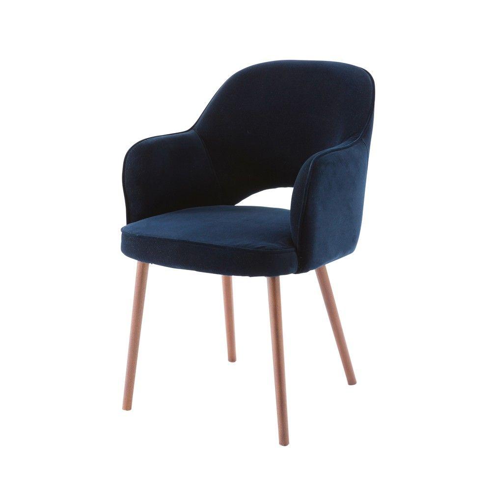 fauteuil en velours bleu nuit maisons du monde d co. Black Bedroom Furniture Sets. Home Design Ideas