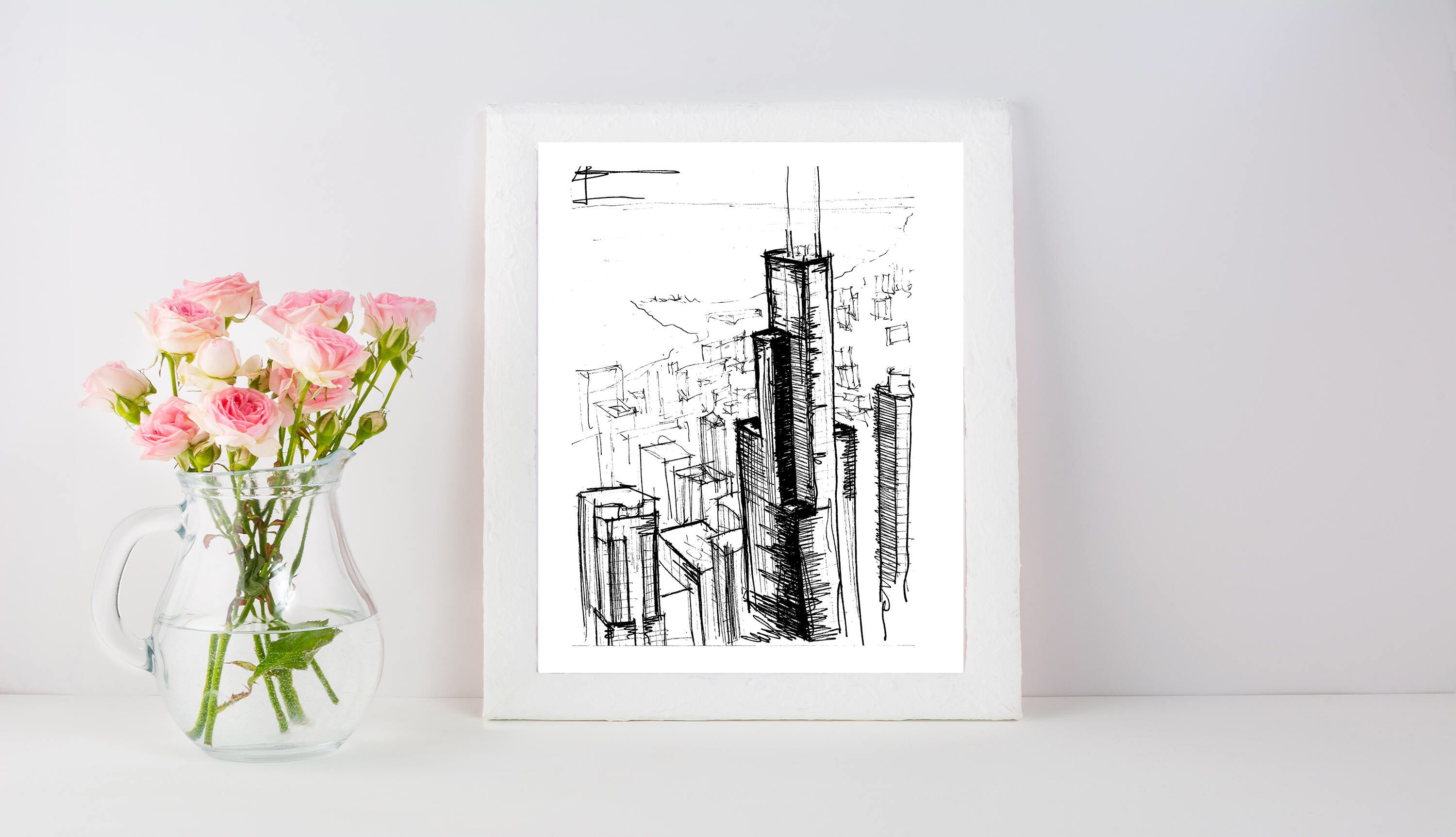 Chicago Skyline Architecture Sketch | Original artwork | Architectural drawing | Pen and Ink by hand | 8x10 Wall Print by IlerCreative on Etsy https://www.etsy.com/listing/540431229/chicago-skyline-architecture-sketch