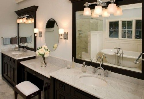 Double vanity cabinets for bathroom with dressing table for Bathroom dressing ideas