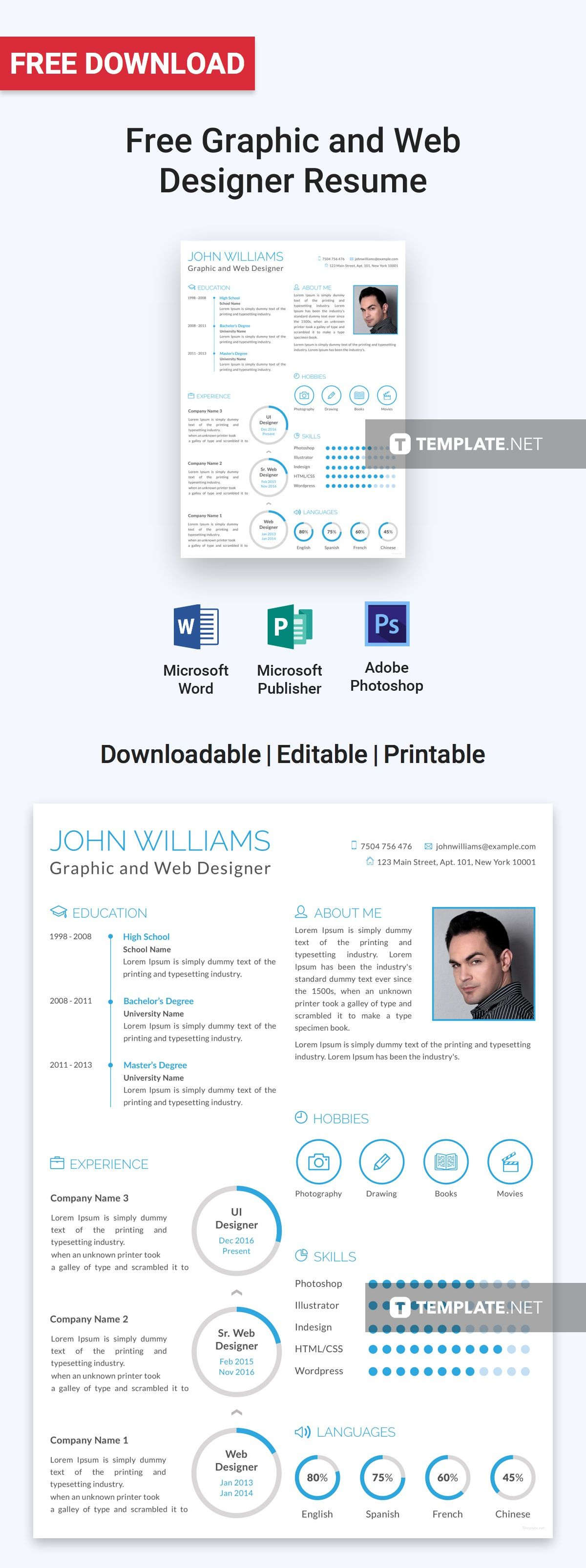 Graphic And Web Designer Resume Template Free Psd Word Apple Pages Publisher Template Net Graphic Design Resume Web Designer Resume Graphic Design Resume Template