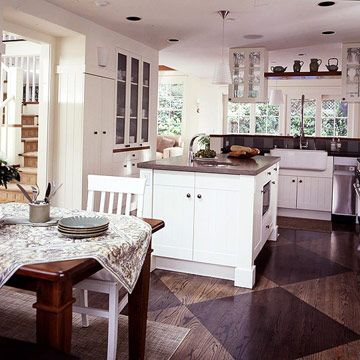 Painted Floor Ideas for the Kitchen | Black furniture, Wood grain ...