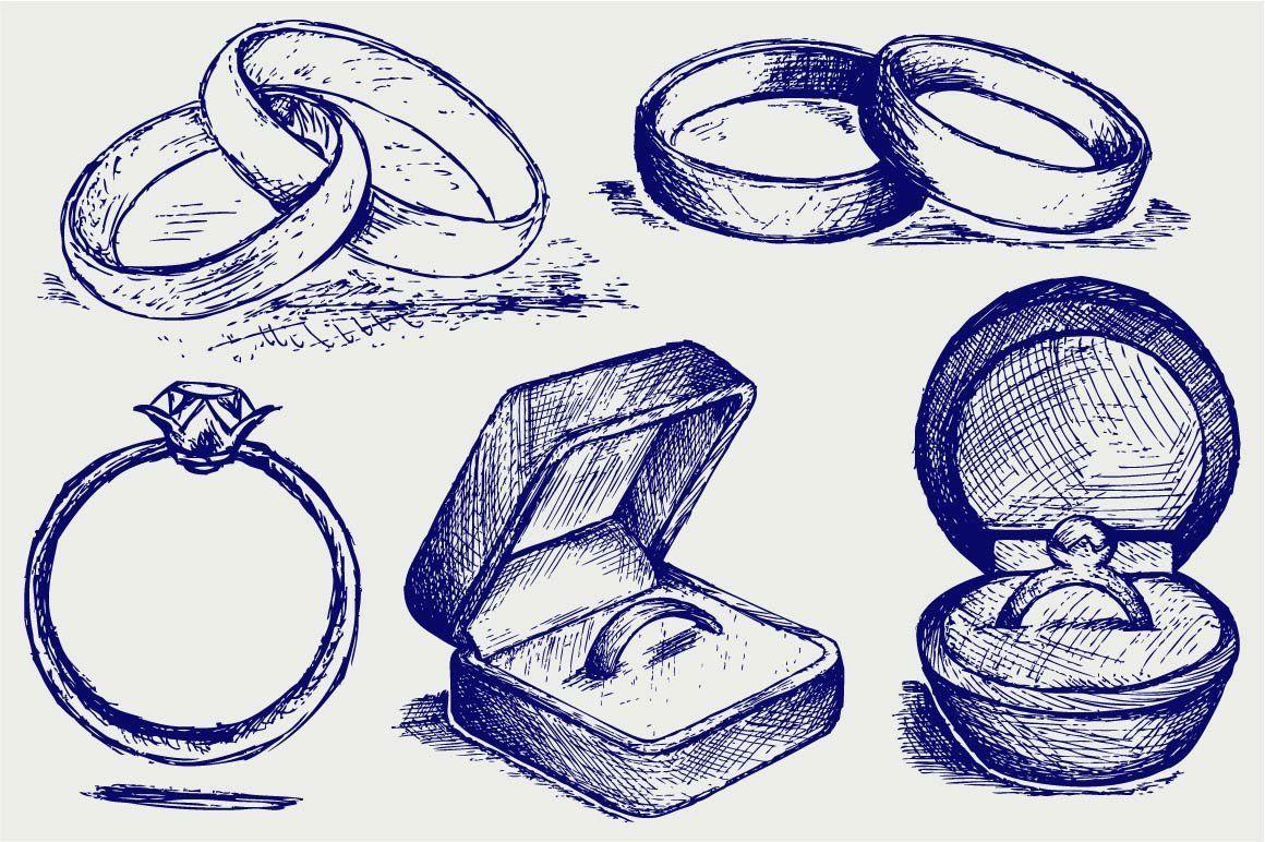 Wedding rings Wedding ring illustrations, Wedding ring