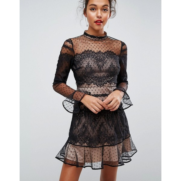 ASOS Lace Dobby Patchwork Long Sleeve Mini Dress ( 60) ❤ liked on Polyvore  featuring dresses f34b63d4b