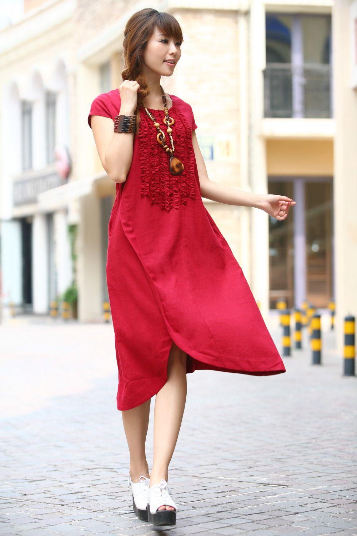 Long maxi dress summer dress in red linen sundress for women