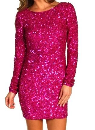 061bb91d7d9f2 Hot In Pink Long Sleeve Sequin Dress, Dress, sequin sparkly party ...