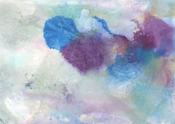 "Original Painting - 5"" x 7"" - Abstract - Purple, Blue, Yellow, Teal and White - 2014-58"