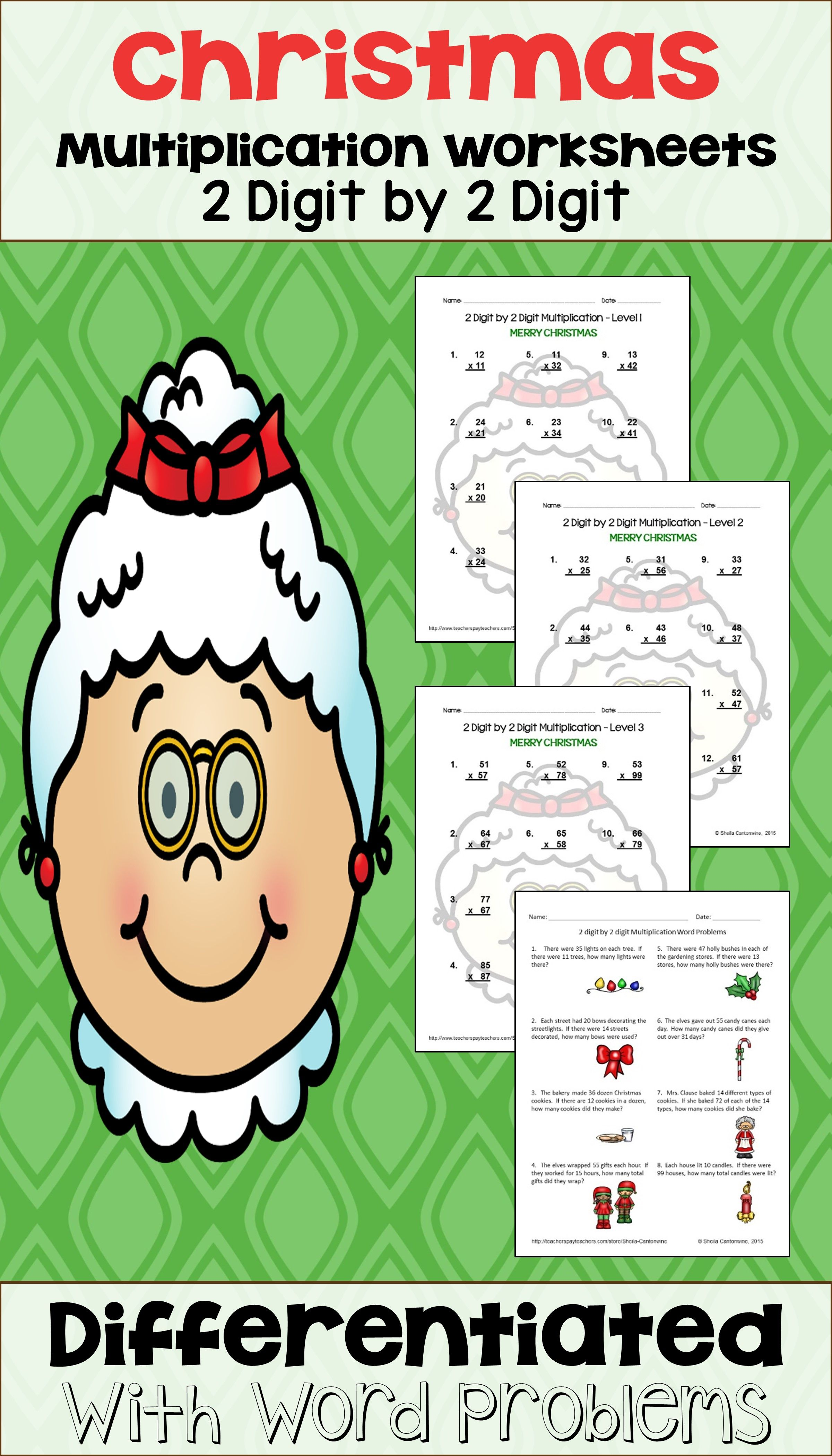 Christmas 2 Digit By 2 Digit Multiplication Worksheets Differentiated