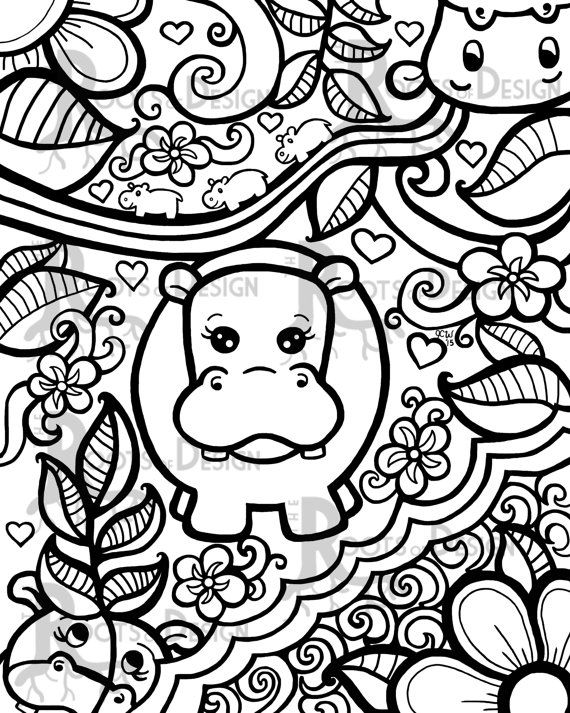Instant Download Coloring Page Hippo Art Print Zentangle