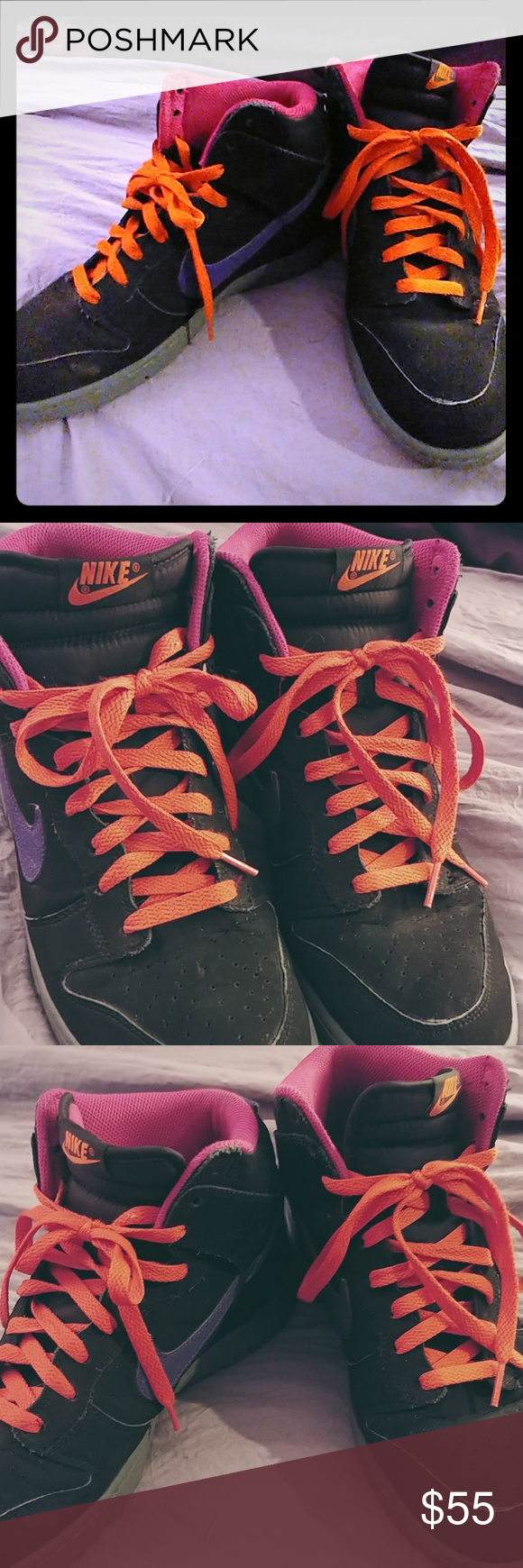 best authentic 32f60 741e6 Nike SB Dunk high Mens 9 Black court purple Electric orange colorway.pre  owned Very good condition Nike Shoes Sneakers