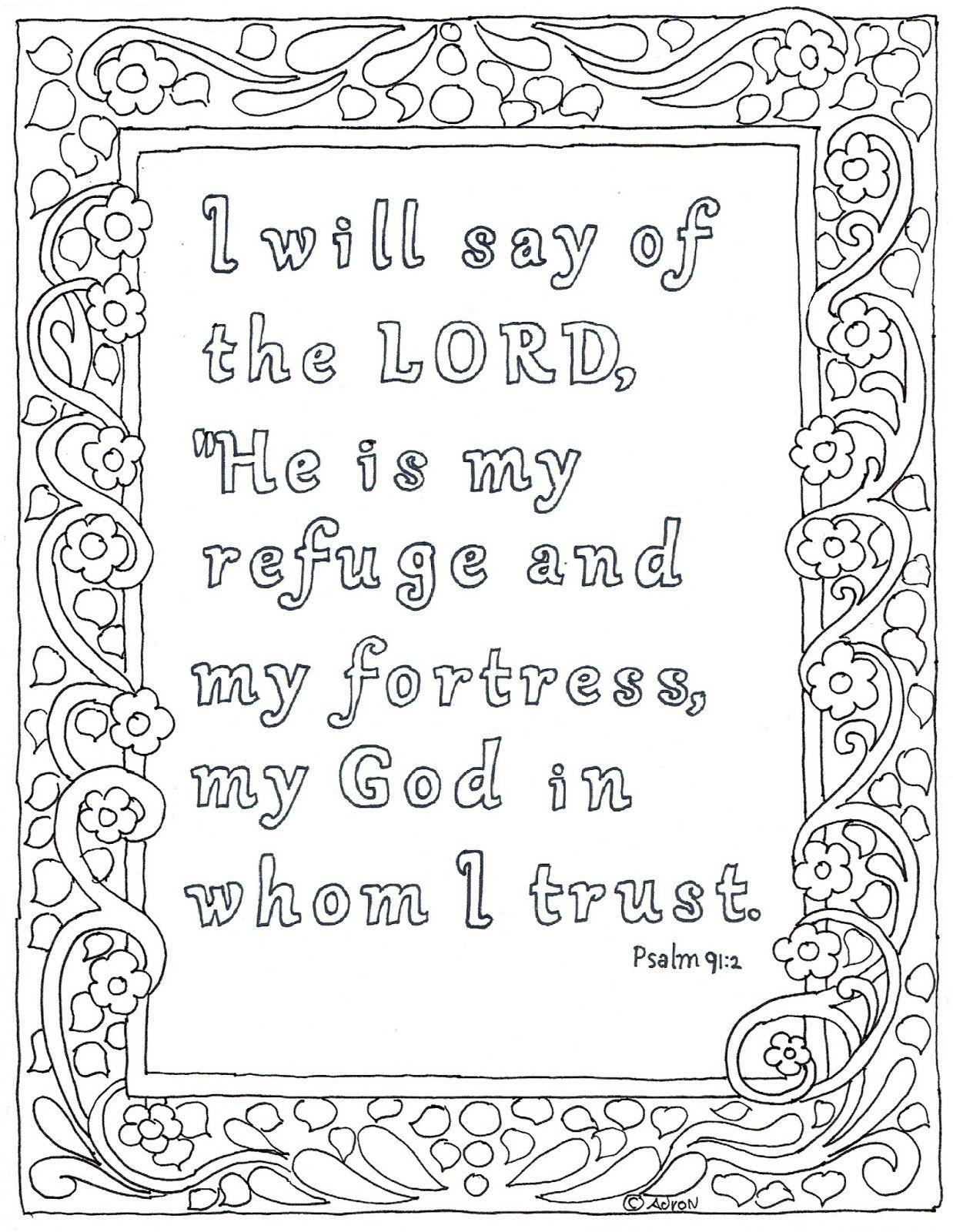 Psalm 91 2 Jpg 1238 1600 Bible Verse Coloring Page Bible