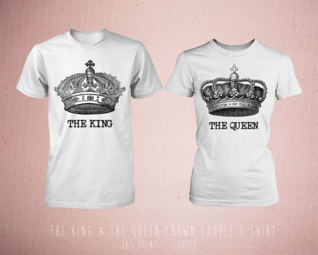 e1c7eb094c90 Cute Matching The King   The Queen Crown Couple T-shirt (White ...