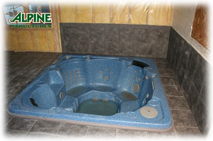 Built in hot tub with tile