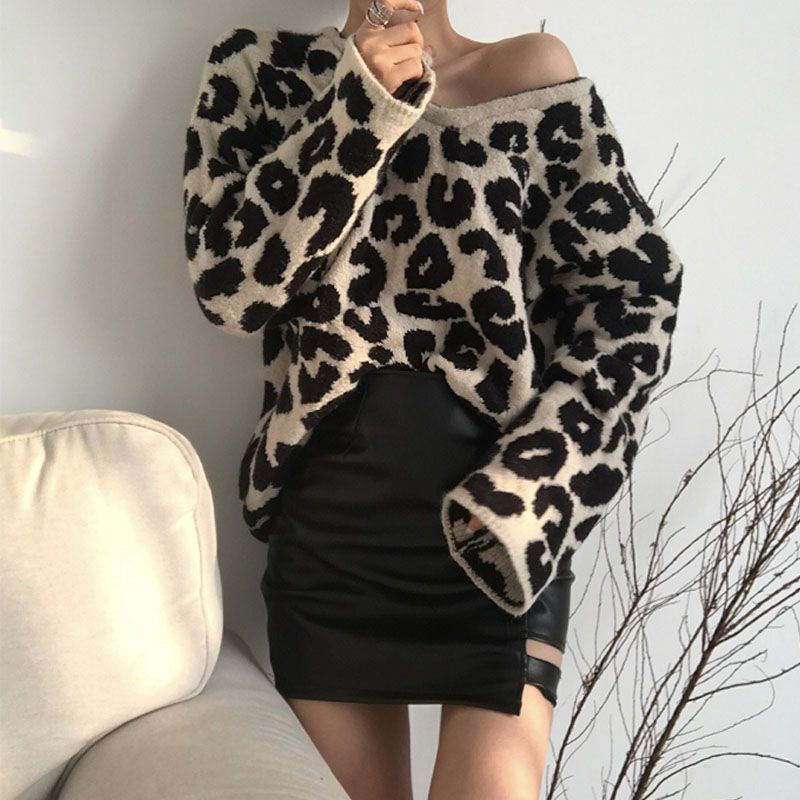 d6ddf21929f Leopard Print Sweater Women Pullover Jumper Korean V Neck Loose ...