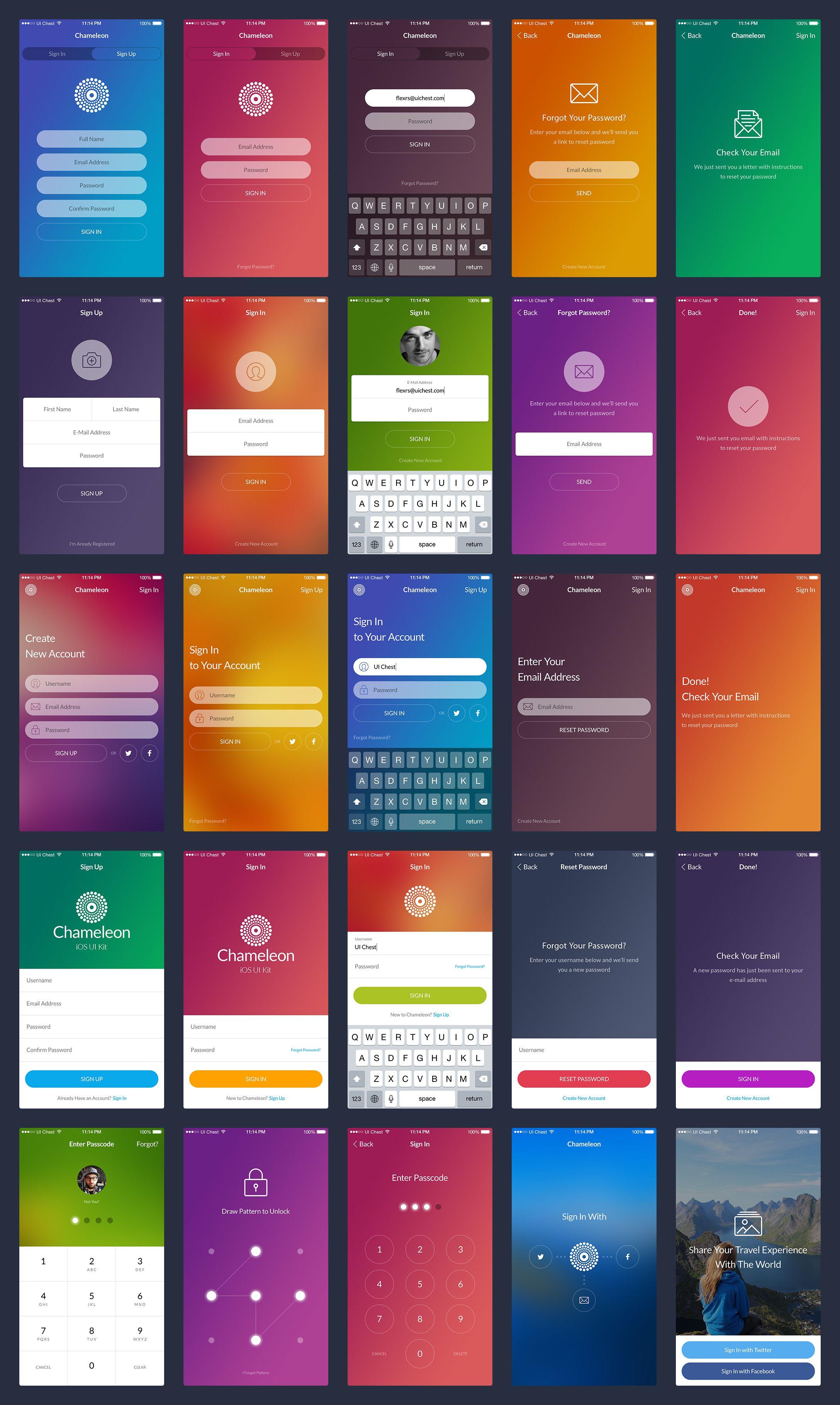 Chameleon UI Kit   UI Examples   Android app design, Ios app design
