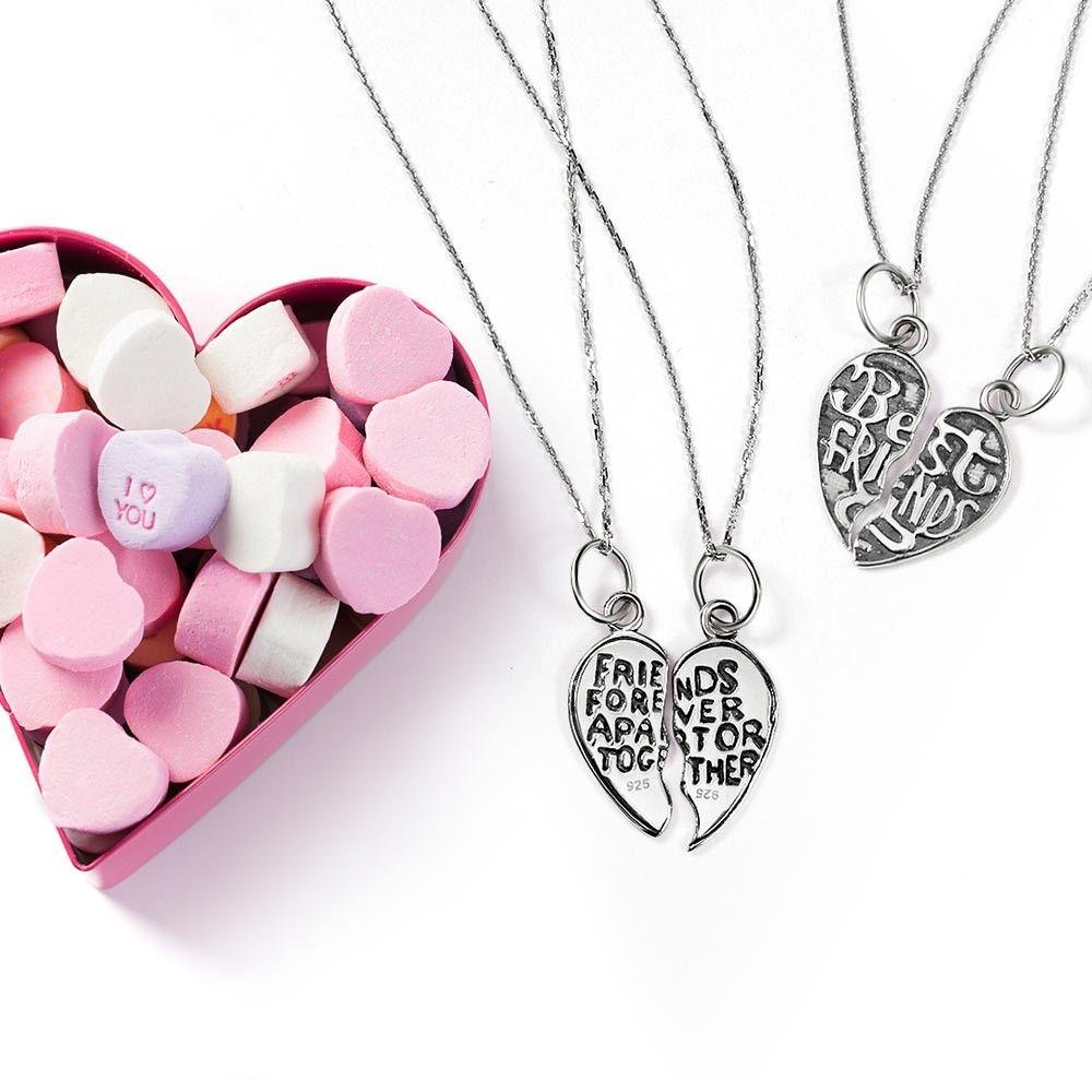sterling best friends forever split heart necklace set in