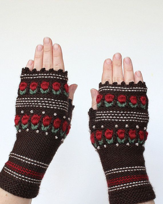 Knitted Fingerless Gloves, Roses, Brown, Clothing And Accessories ...