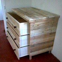 commode 3 tiroirs en bois de r cup ration recyclage palettes pinterest commodes tiroir et. Black Bedroom Furniture Sets. Home Design Ideas