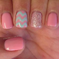 Mint pink girly chevron nail art design nails pinterest cute pink with glitter and chevron stripes accent nails mint pink girly chevron nail art design prinsesfo Image collections