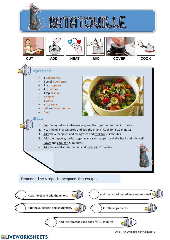 Recipe Ratatouille Interactive Worksheet Ratatouille How To Make Pizza Recipes [ 1413 x 1000 Pixel ]